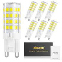 DiCUNO G9 LED Ceramic Base Light Bulbs, 4W (40W Halogen Equivalent), 400LM, Daylight White (6000K), G9 Base, G9 Bulbs Non-Dimmable for Home Lighting, 6-Pack