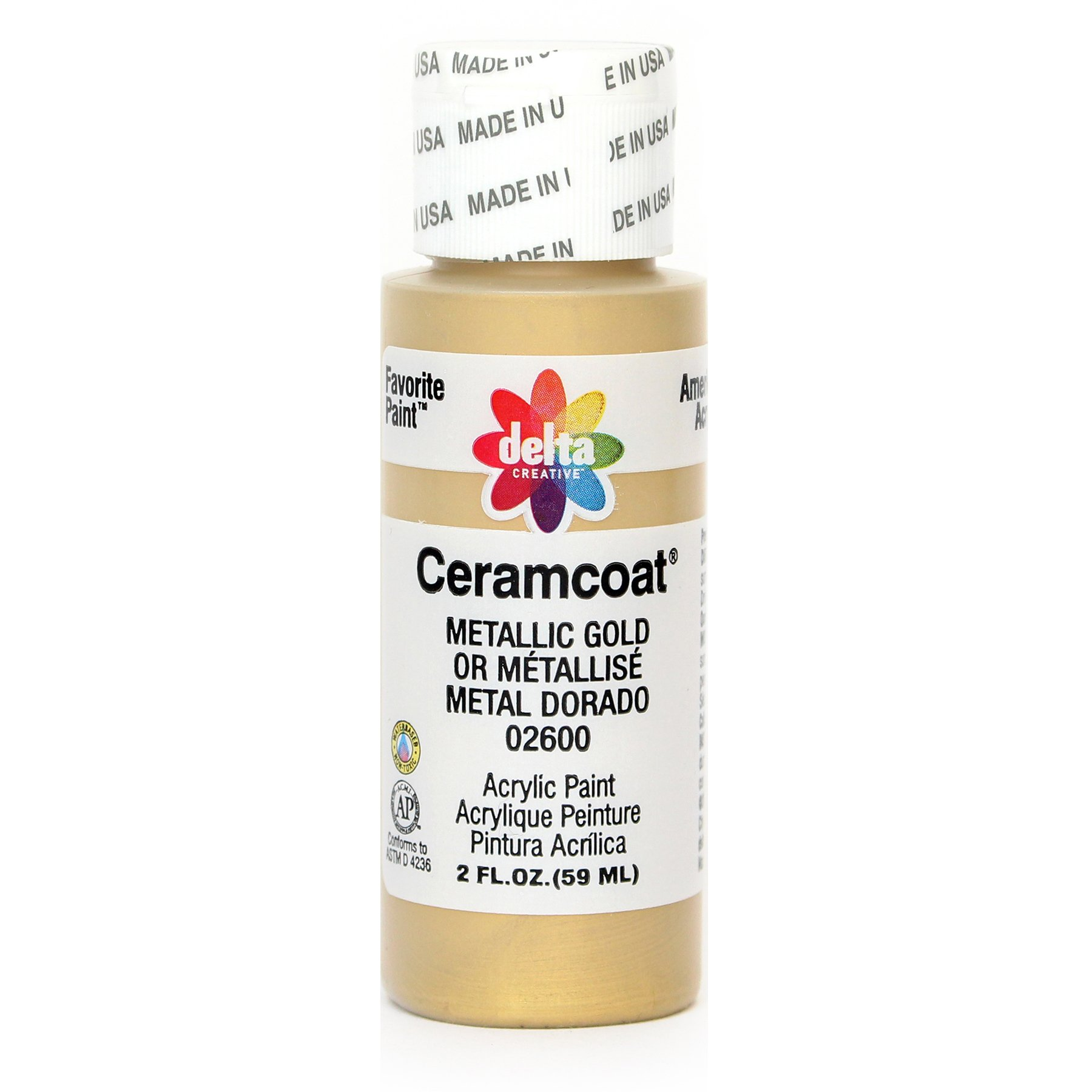 Delta Creative Ceramcoat Metallic and Pearl Acrylic Paint in Assorted Colors (2 oz), 2600, Metallic Gold