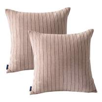 JES&MEDIS 2-Pack Cotton Throw Pillow Covers Square Pillow Cases Cushion Cases Stripe Pattern Sofa Pillow Covers or Living Room, Couch and Bed, 18 x 18 Inch, Grey
