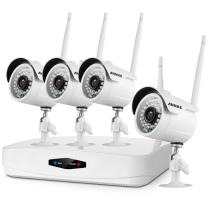 ANNKE 1080P Wireless Security Camera System 4CH Wireless WIFI NVR and (4) 2.0 Megapixel Outdoor IP Cameras, Remote Access & Motion Detection, Plug and Play, NO HDD