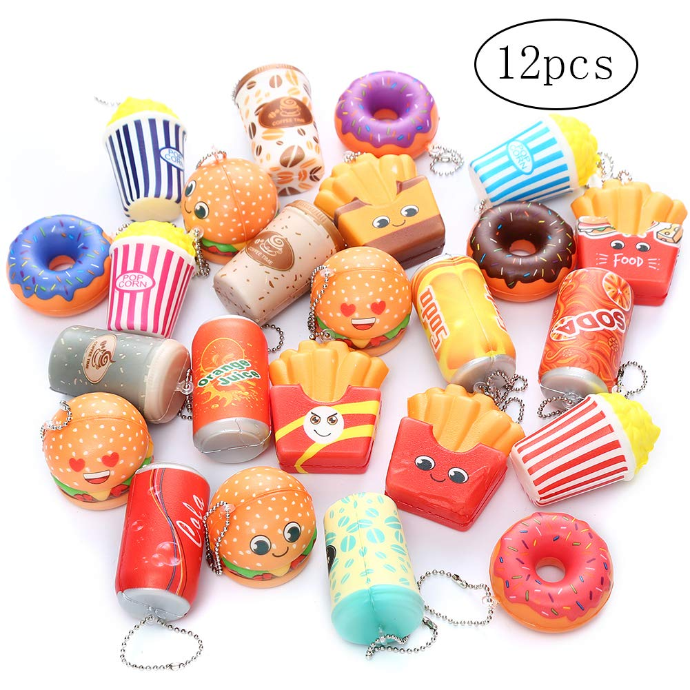 Sinofun 12PCS Random Food Squishies Keychain Set, Hamburgers/ Donuts/ Popcorns/ French Fries Cute Jumbo Squishy Pack Soft Slow Rising Squishy Toys Stress Relief Scented Party Favors for Boys/Girls