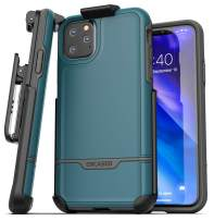 Encased iPhone 11 Pro Belt Clip Holster Case (2019 Rebel Armor) Heavy Duty Protective Full Body Rugged Cover with Holder (Turquoise Blue)
