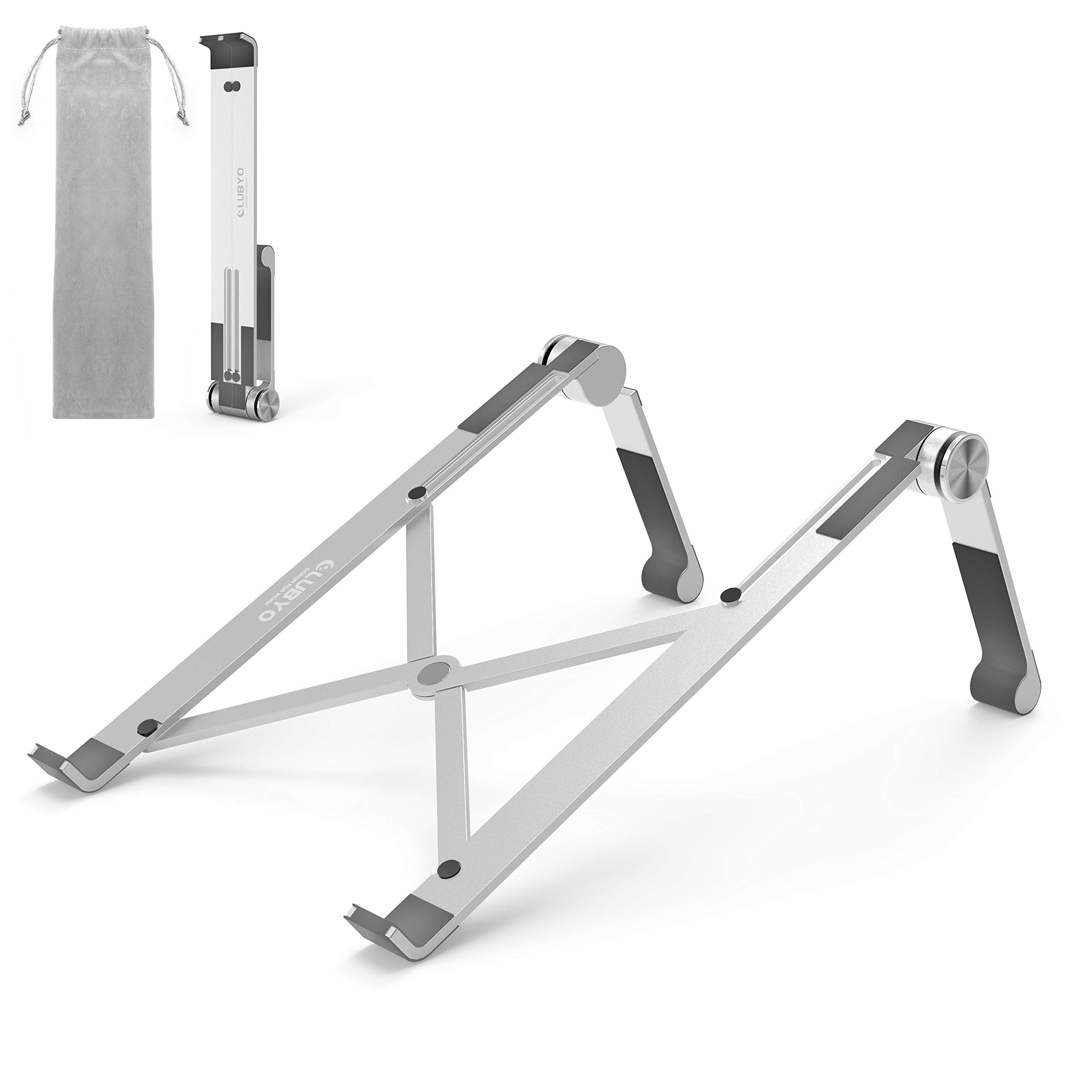 """Laptop Stand for Desk, Clubyo Adjustable Ergonomic Portable Foldable Aluminum Computer Riser Holder,Compatible with MacBook Air, Pro, Lenovo, Thinkpad, Dell, HP, Acer, ASUS 10-15.6"""" Notebook, Silver"""