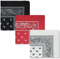 Bandanas for Men and Women, Paisley Cowboy Headband for Raves, Riding, Dust and More-3/6/12Pack, Assorted Colors, 22 inch