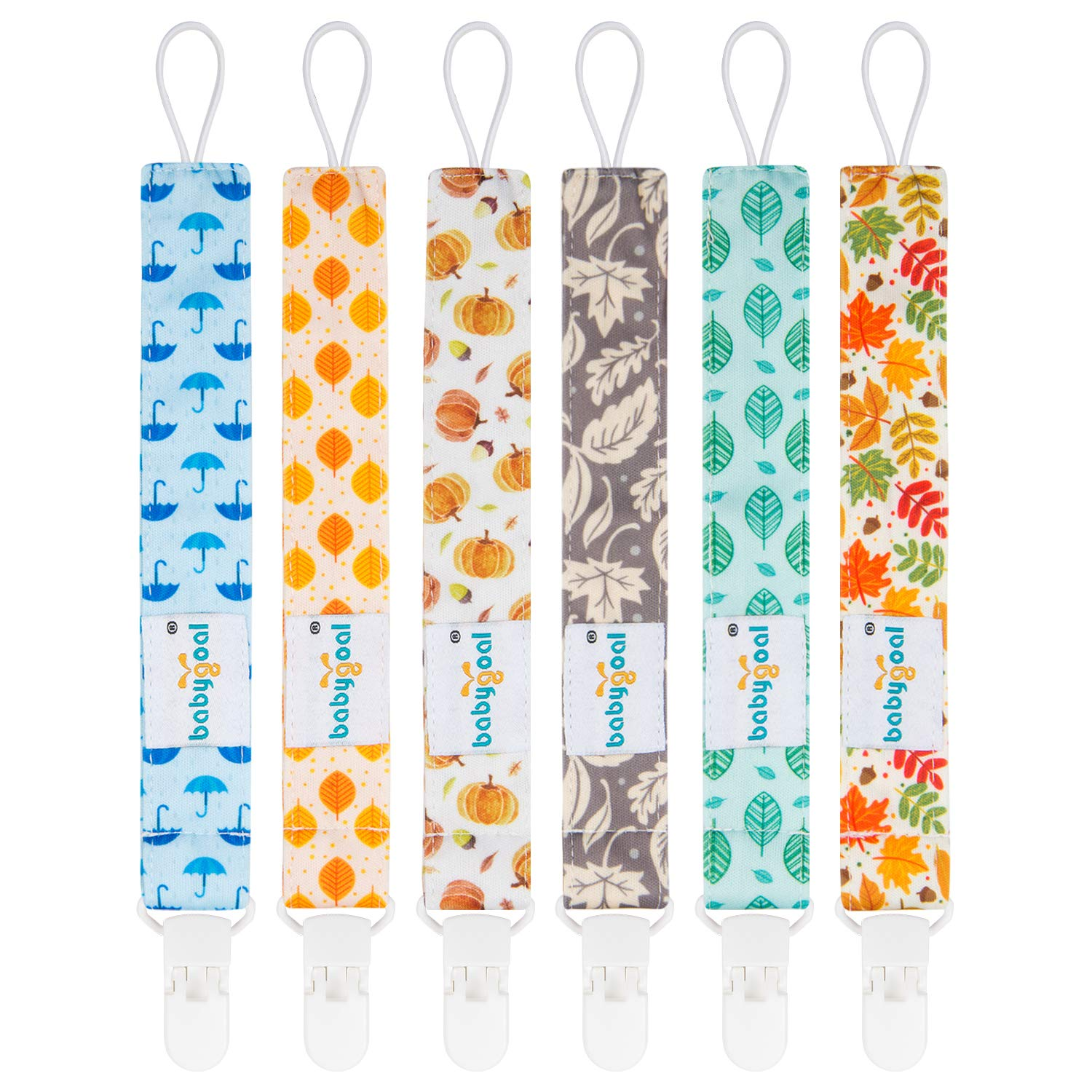 Babygoal Pacifier Clips, 6 Pack Pacifier Holder for Boys and Girls Fits Most Pacifier Styles &Teething Toys and Baby Shower Gift 6PS19