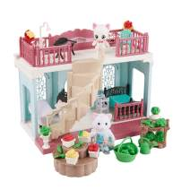 FULIM Forest-Family DIY Dollhouse Kit Set - Portable Doll House Playset Toddler Toys for 3 4 5 6 Year Old Girls Kids with Furniture Accessories and Two Critters, 1-Story