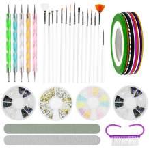 Nail Art Set Nail Art Tool Kit Nail Painting Kit 15 Pcs Art Brushes & 5 Pcs Dotting Pen & 4 Pcs Color Nails Rhinestones & 10 Pcs Nail Art Striping Tape & 1 Pcs Nail Sanding Files & 1 Pcs Buffing Block