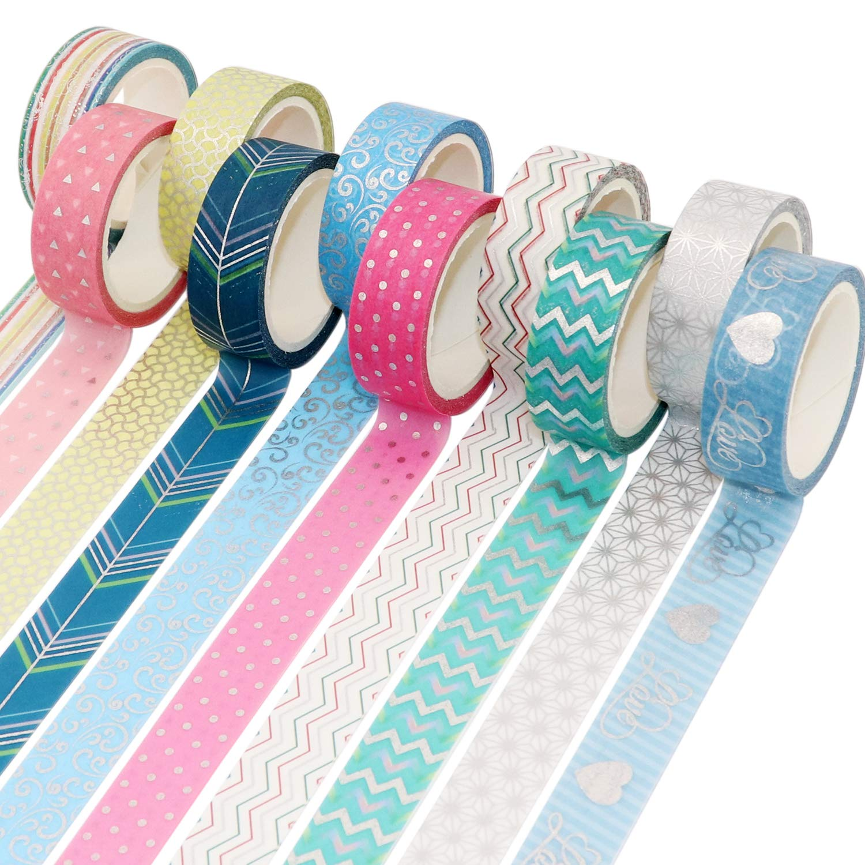 VEYLIN 10Rolls Foil Washi Tape - Shiny Sliver Decorative Masking Tape for Bullet Journal Scrapbook