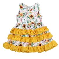 GRNSHTS Baby Girls Sunflower Shorts Set 3Pcs Infant Fly Sleeve Ruffled Shirt+Sunflower Diaper+Headband Summer Outfits