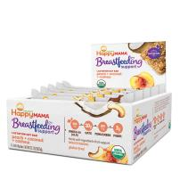 Happy Mama Breastfeeding Support Lactation Oat Bars Peach Coconut & Cashew, 1.58 Ounces, 15 Count Box