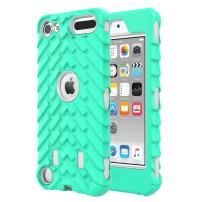 MoKo Case Fit iPod Touch 2019 Released iPod Touch 7/iPod Touch 6/iPod Touch 5, 3 in 1 Heavy Duty Shock Absorbing Hybrid Bumper Protective Case Cover Fit iPod Touch 7th/6th/5th Gen - Light Green