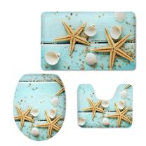 CHAQLIN 3 Pcs Bath Mat Set Blue Starfish Flannel Bathroom Mat Contour Pad Toilet Cover Rug