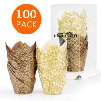 Tulip Cupcake Liners, 100 Pcs Baking Cups, HULISEN Premium Greaseproof Paper, Muffin Liners for Wedding, Baby Showers, Party, Brown and White Golden Leaf Model, Standard Size- Bottom Diameter 2 inch