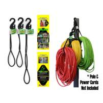 SECURE IT QUICK - Hook & Hang Storage & Organization Cords - Hang Hoses, Cords, Ladders, Bikes, Tools & More. an Incredible Organizer! (3 PK, Black)
