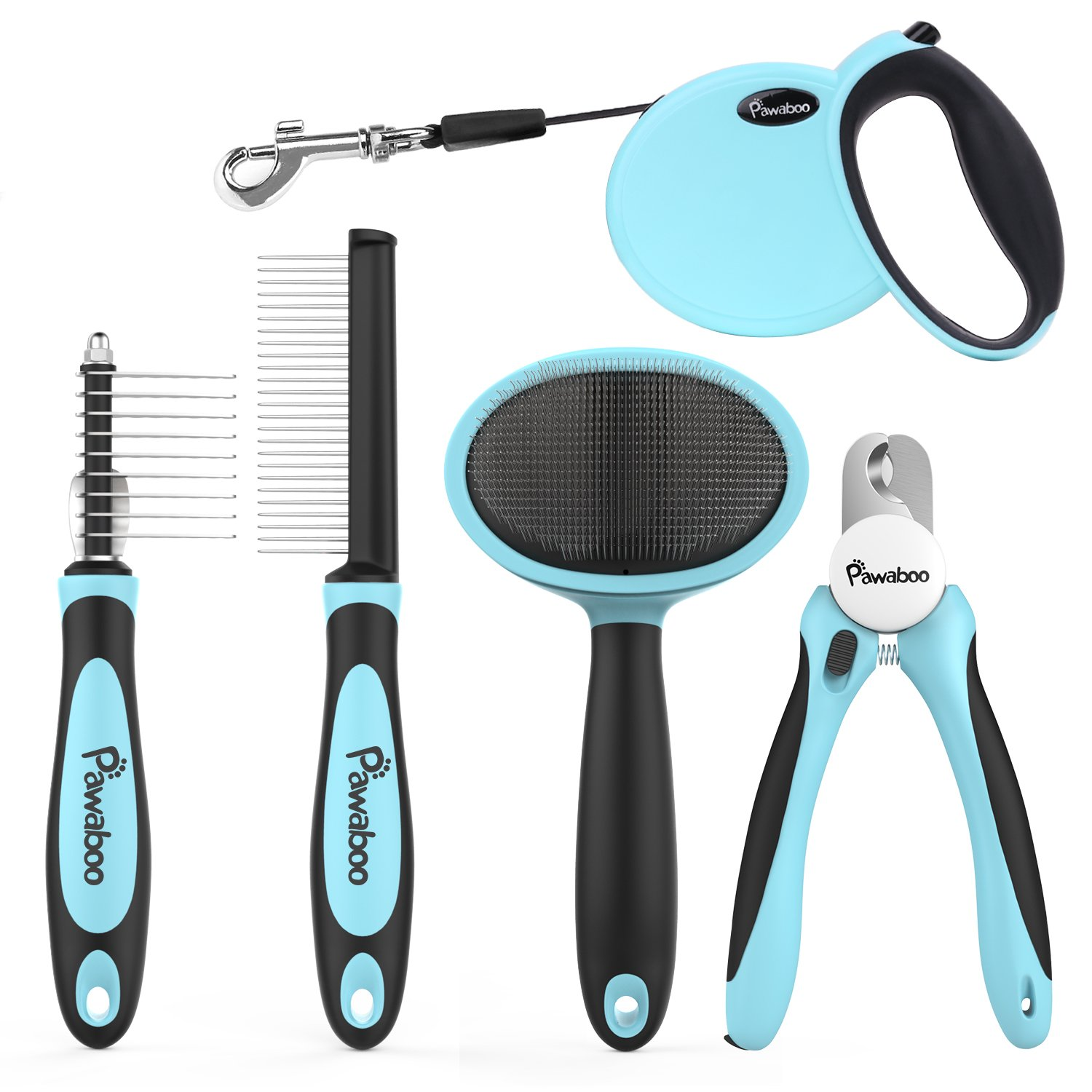 Pawaboo Pet Grooming Tools Kit, 5 Pieces Professional Dog Grooming Kit Comb Suit Pin Comb, Nail Clipper, Slicker Brush, Dematting Comb and Retractable Dog Leash for Pet Dogs Puppies, Light Blue
