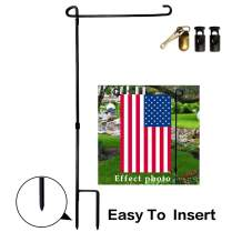 VIEKEY Garden Flag Stand Iron Garden Flag Pole with 2 Flag Stoppers and 1 Metal Anti-Wind Clip Garden Flag Holder Metal Powder-Coated Weather-Proof Paint
