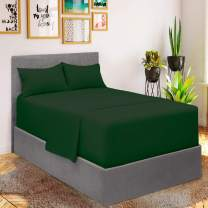 Mellanni Bed Sheet Set - Brushed Microfiber 1800 Bedding - Wrinkle, Fade, Stain Resistant - 4 Piece (for Extra Deep Mattresses, Queen, Emerald Green)