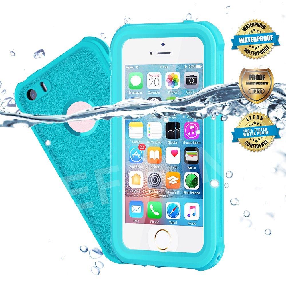 EFFUN Waterproof iPhone 5/5S/SE Case, IP68 Certified Waterproof Underwater Cover Dustproof Snowproof Shockproof Case with Cell Phone Holder, PH Test Paper, Stylus Pen and Floating Strap Aqua Blue