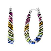 Devin Rose Stainless Steel Rainbow Crystal U Shaped Hoop Earrings for Women with Inside Outside Diagonal Pattern