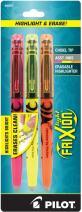 PILOT FriXion Light Erasable Highlighters, Chisel Tip, Assorted Color Inks, 3-Pack (46507)