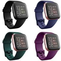 Deilin 4 Packs Bands Compatible with Fitbit Versa/Versa 2/Fitbit Versa Lite for Women Men, Classic Soft Silicone Sport Strap Replacement Adjustable Multicolor Wristband for Fitbit Versa Smartwatch