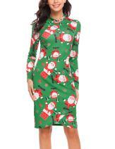 Zeagoo Women's Christmas Xmas Print Long Sleeve Cocktail Party Mini Pencil Bodycon Dress