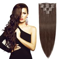 """20"""" Remy Hair Extensions Clip in Human Hair with 15clips 7pcs Soft Smooth Straight &Thin for Lady (70g, Dark Brown #2)"""