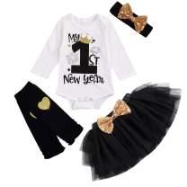 KONIGHT Baby My 1st New Year Outfits Long Sleeve Letter Romper +Tutu Dress+Leg Warmers + Headband