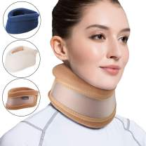 Velpeau Neck Brace -Foam Cervical Collar - Soft Neck Support Relieves Pain & Pressure in Spine - Wraps Aligns Stabilizes Vertebrae - Can Be Used During Sleep (Dual-use, Brown, Large, 3″)