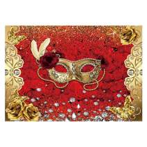 Funnytree Mardi Gras Backdrop Mysterious Carnival Masquerade Photography Background Red Rose Flower Golden Glitter Diamond Birthday Dancing Party Decorations Banner Photo Booth Studio 7x5ft
