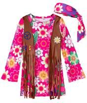 A&J DESIGN Kids Girls 60's Hippie Costume Peace Love Dress