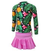 qyqkfly Girls Pineapple Long Sleeve Rash Guard with Pants 2-Piece Swimsuit(FBA)