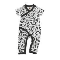 Tea Collection Wrap Romper, Panda Pups Design