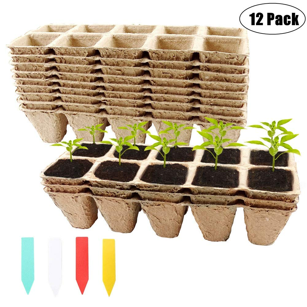 YBB 12 Pack Seed Starter Tray Kit, 120 Cells Biodegradable Peat Pots Seedling Germination Trays, Organic Plant Seed Starter Tray Kit with 60 Pcs Colorful Plant Labels