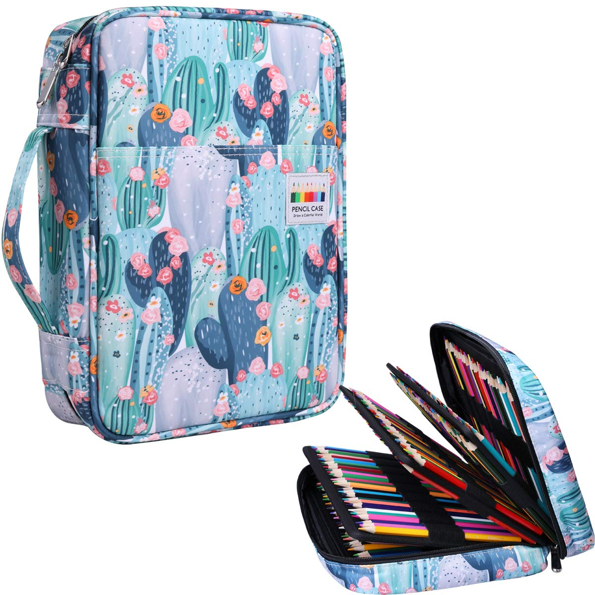 220 Colored Pencil Case Multi Pencil Holder Large Capacity Pen Organizer Bag for Watercolor Pencils, Markers,Gel Pens, Highlighters, Brushes, Great Gift for Students Painter Writers (Cactus)