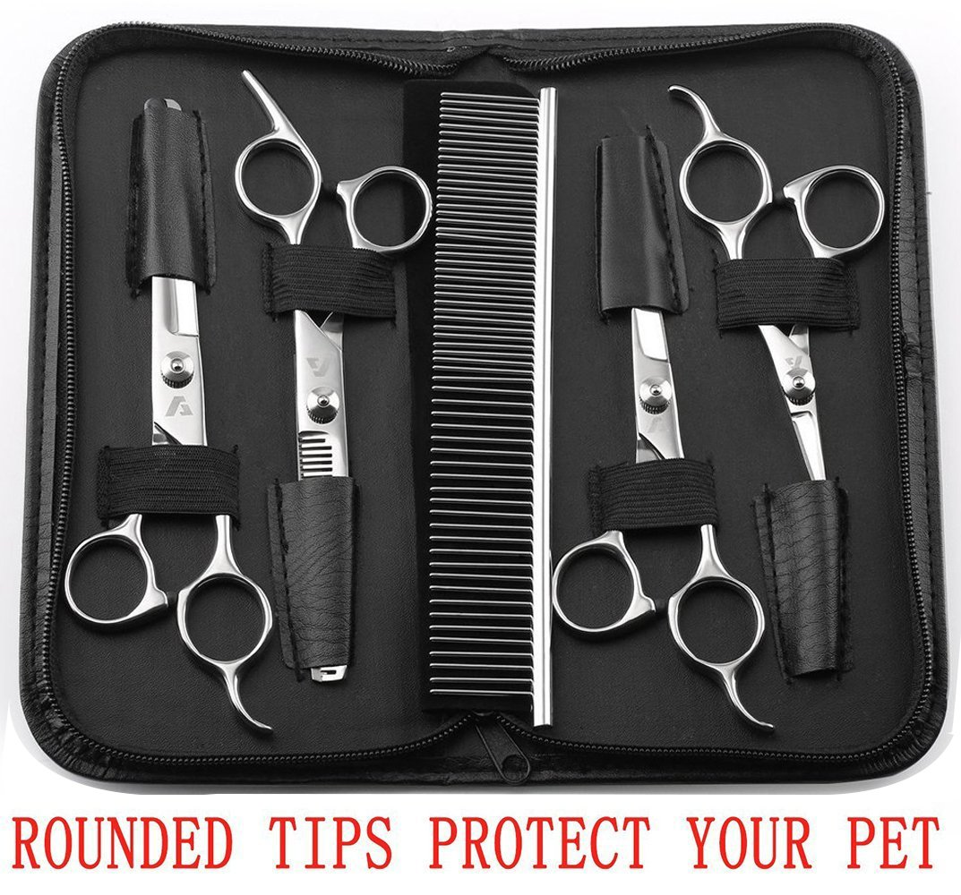 AUGYMER Dog Grooming Scissors Kit, Rounded Tips 5 PCS Curved Pet Grooming Scissors for Cats Dogs Stainless Steel Scissor for Body Face Ear Nose Paw