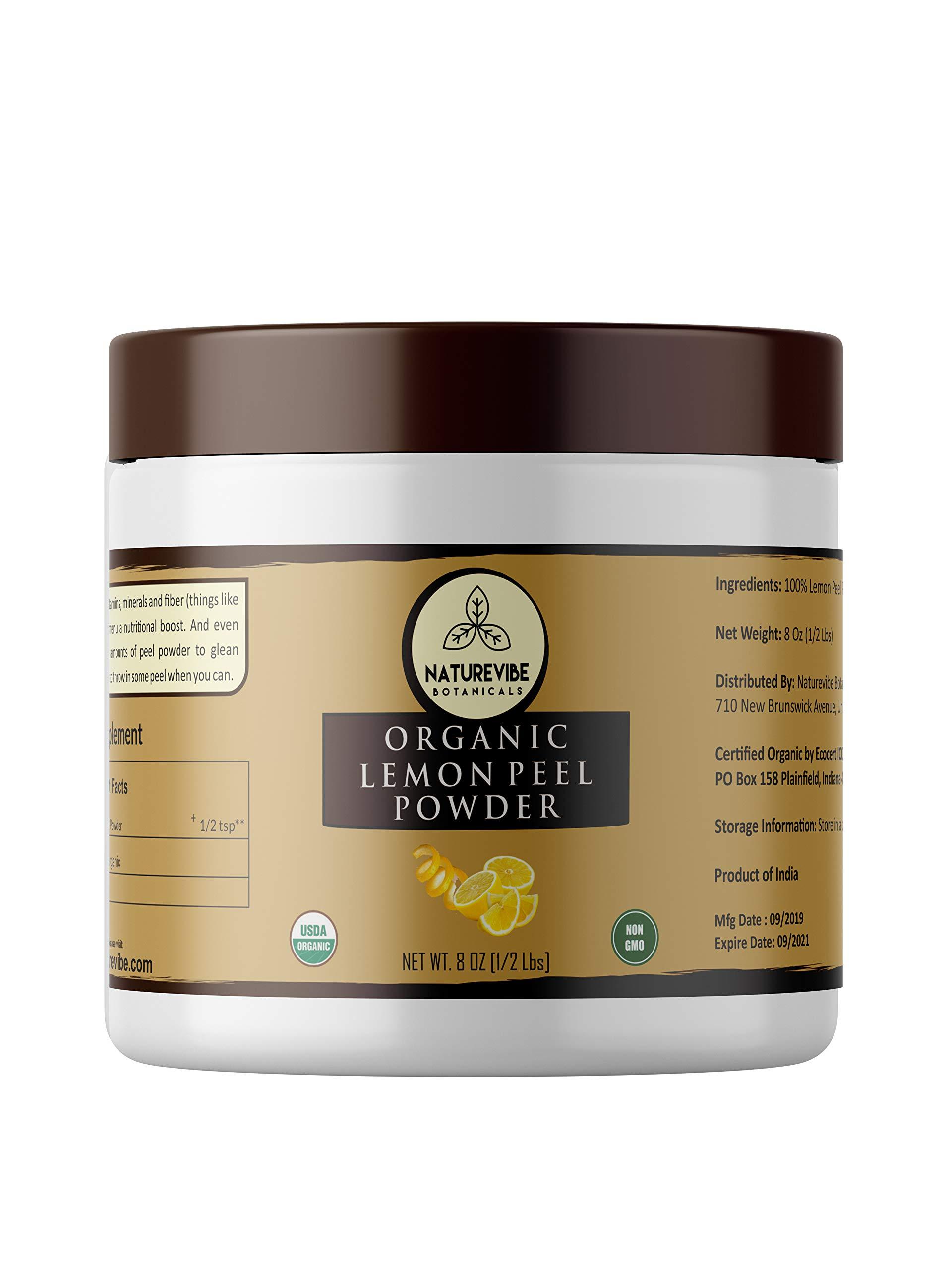 Naturevibe Botanicals USDA Organic Lemon Peel Powder (8 Ounces) - Citrus Lemon - 100% Pure & Natural.[Packaging May Vary]