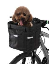 Lixada Bike Basket Folding Small Pet Cat Dog Carrier Front Removable Bicycle Handlebar Basket Quick Release Easy Install Detachable Cycling Bag Mountain Picnic Shopping,Max Bearing 17 lbs