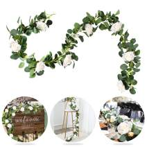 Patimate Eucalyptus Garland (6.5 FT, 8 White Roses Among Eucalyptus Leaves), Flower Garland for Wedding Arch Backdrop Decor, Table Runner, Banquet, Home Decor, Hanging Vine Rose Decoration