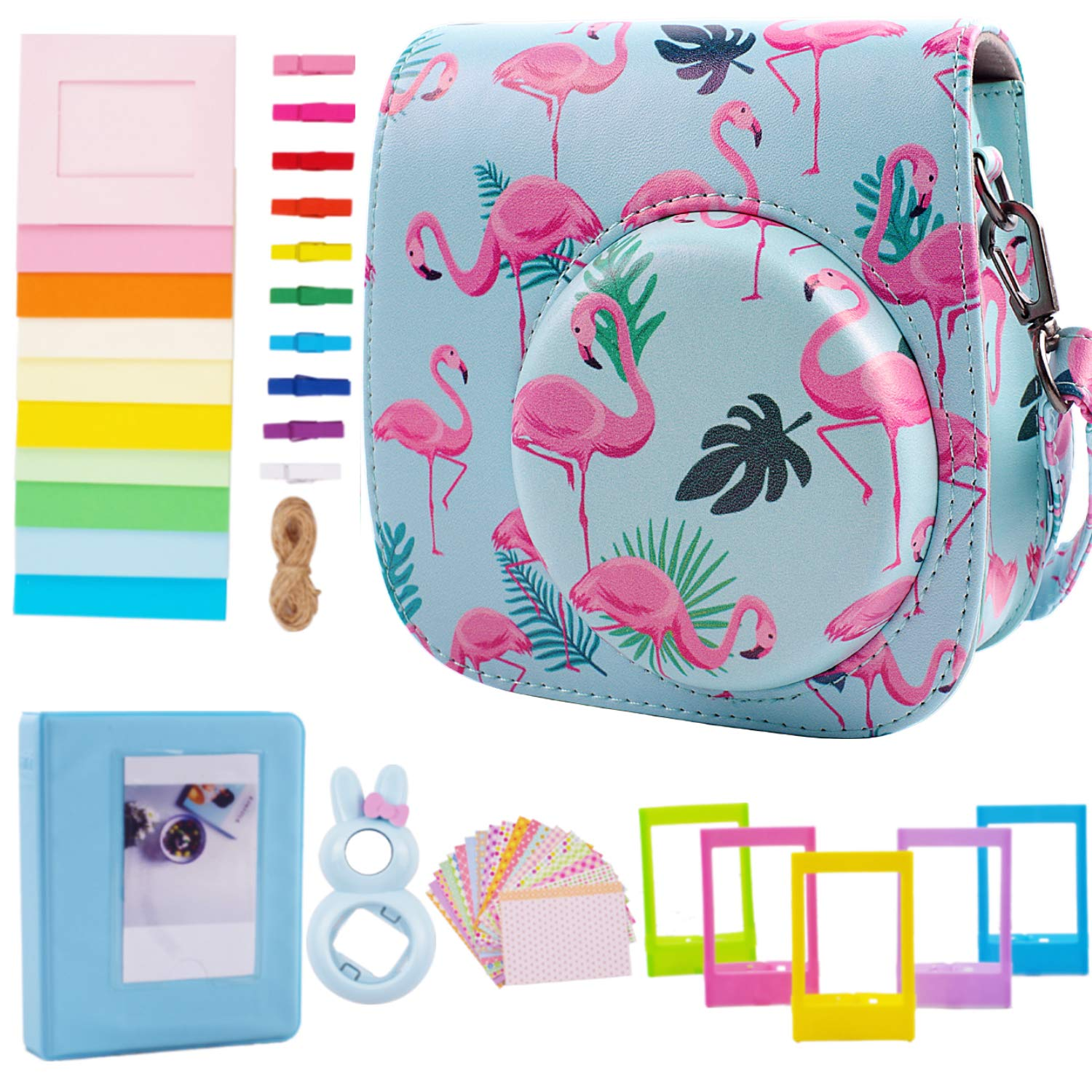 Case & Accessories Compatible with Fujifilm Instax Mini 9/8/ 8+ Instant Polaroid Film Camera, Bundle Pack Include Album, Selfie Lens & Other Accessories [Flamingo,6 Items Kit] by SAIKA