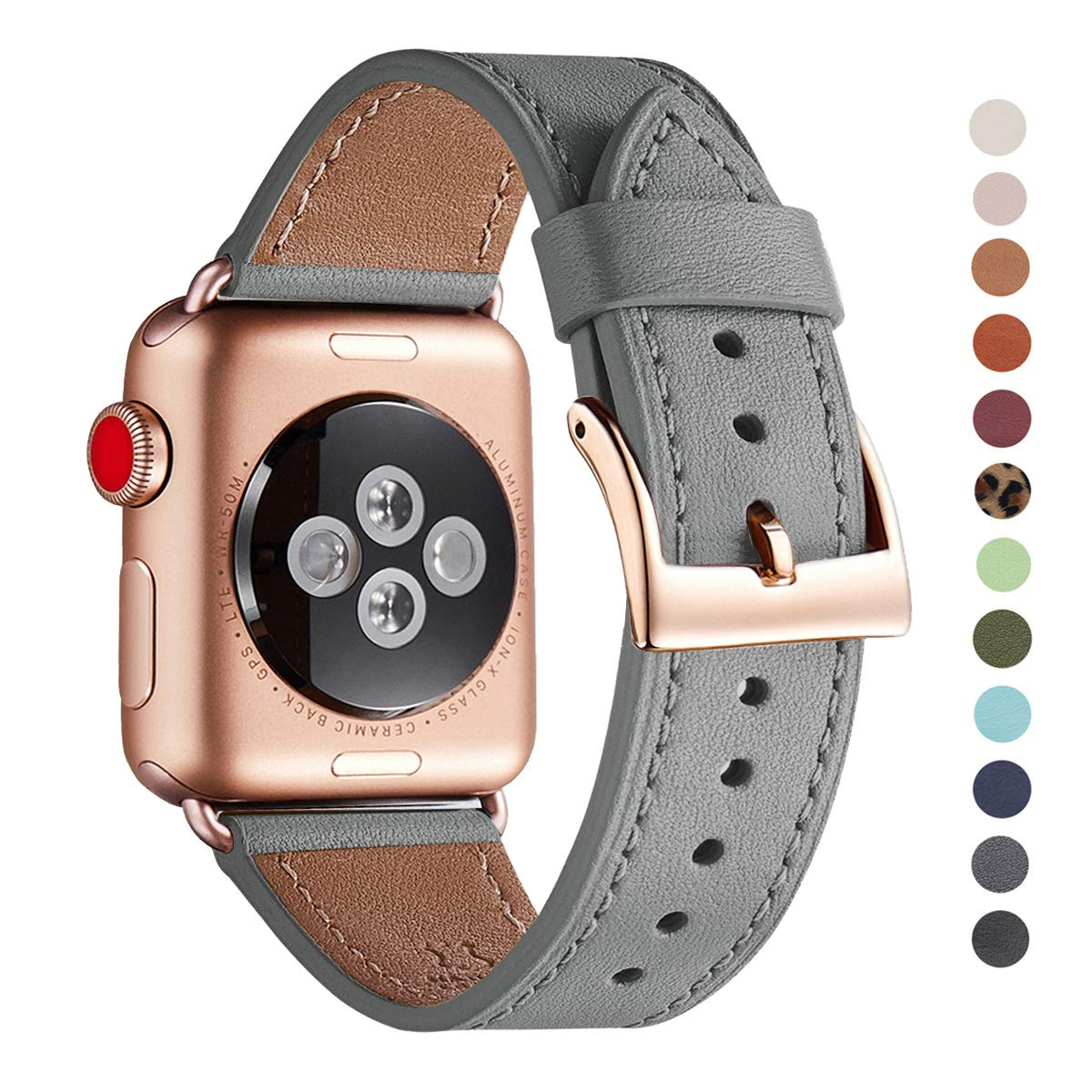 WFEAGL Compatible iWatch Band 38mm 40mm, Top Grain Leather Band with Gold Adapter (The Same as Series 5/4/3 with Gold Aluminum Case in Color) for iWatch Series 5/4/3/2/1 (Gray Band+Rose Gold Adapter)