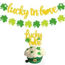 Joymee Love in Love Banner Shamrock Cake Topper for St Patrick's Day Irish Themed Wedding Bridal Shower Bride to Be Engagement Married Bachelorette Party Supplies Decorations