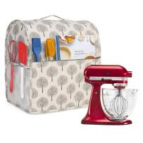 Yarwo Dust Cover for 4.5 qt and All 5 qt Stand Mixer, Protective Stand Mixer Cover with Top Handle and Pockets for Extra Accessories, Tree