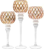 """Galashield Candle Holders Set of 3 Glass Hurricane Votive Tealight and Floating Candle Stand Centerpieces for Wedding Table Gold/White (16"""", 13.5"""", 12"""" High)"""