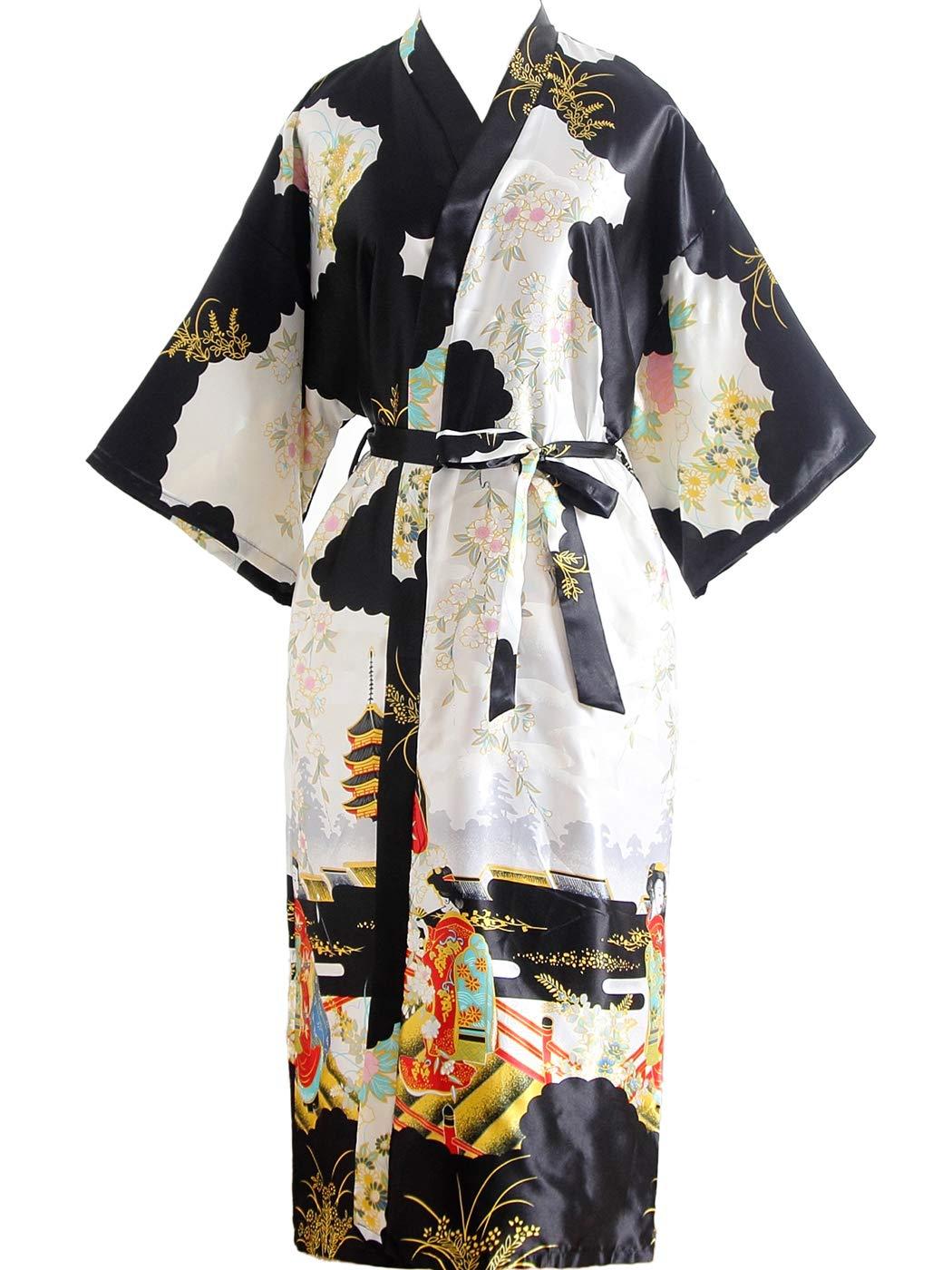 FAIRY COUPLE Kimono Robe Long Floral Bridesmaid Wedding Satin Robes Silky Party Robe