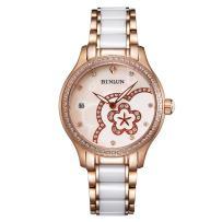 BINLUN Women's Ceramic Luxury Dress Watch Rose Gold Sliver Case Flower Dial Automatic Watches Diamonds