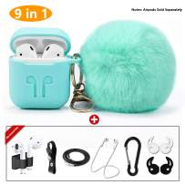 Compatible Airpods Airpods 1 & AirPods 2 , Drop-Proof Silicone Airpods Protective Case Cover with Cute Faux Fur Ball Keychian, 9 In1 Airpods Accessories Kits for Airpods 1 & 2