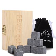 Luxury Whiskey Stones Gift Set, PEMOTech Set of 9PCS Whiskey Beveage Chilling Stones, Resuable Ice Cube Grantie Stones for Whiskey and Beveage with No Dilution - in Wooden Gift Box & Velvet Pouch