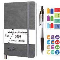 2020 Planner, 2020 Monthly & Weekly A5 Daily College Planner by Feela, Gray Hardcover 176 Pages Day Agenda with 1 Black Pen 6 Sticker Sheets, Yearly Calendar Journal for Girls Adults School Business