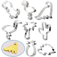 RUCKAE Cookie Cutters,8-Piece Holiday Cookie Cutters Set,Tyrannosaurus, Brontosaurs, Triceratops Dinosaurs,Pineapple, Cactus, Coconut Tree Mold for DIY Baking Cake Craft Pastry Bakeware Decoration